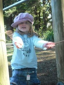Big Girl showing me her sticks